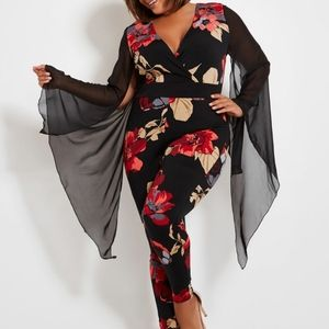 FLORAL PRINT ANGEL SLEEVE JUMPSUIT
